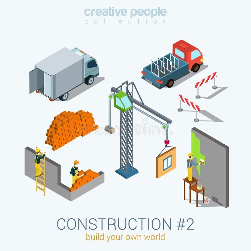 Les objets de construction ont placé le concept isométrique du Web 3d plat illustration de vecteur