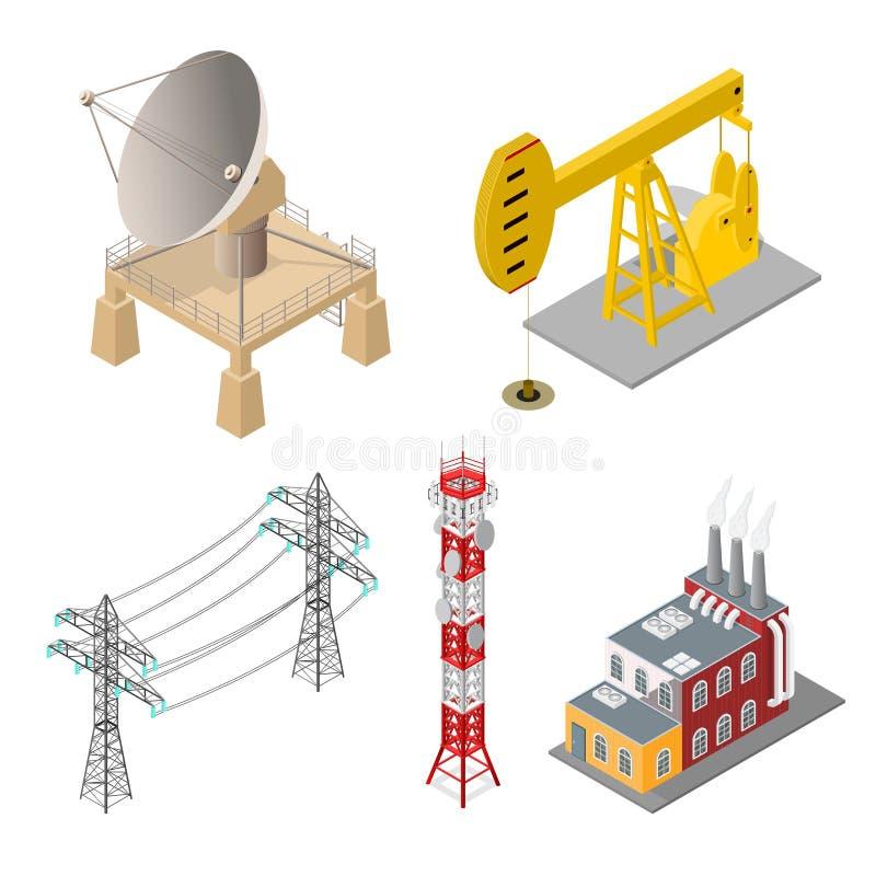 Les objets industriels ont placé la vue isométrique Vecteur illustration stock