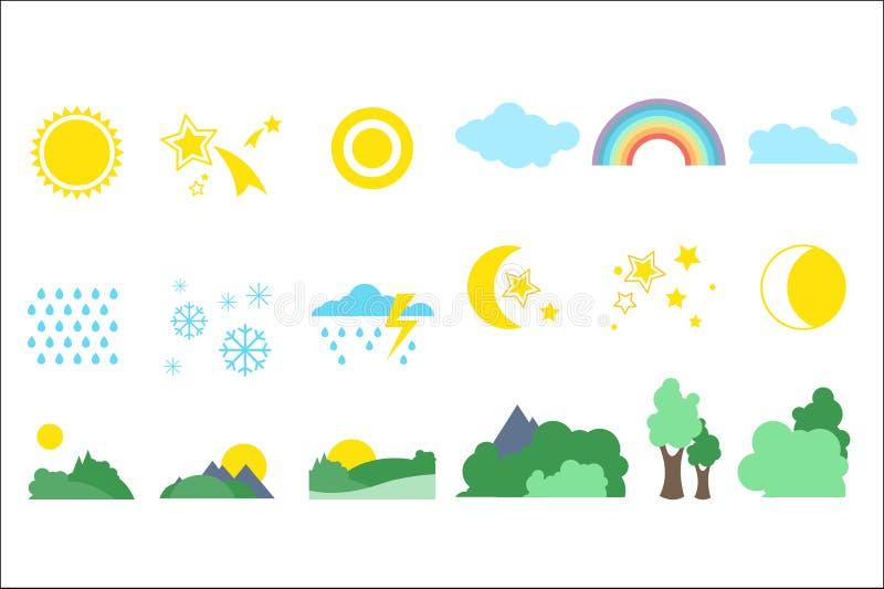 Les objets naturels placent, temps et les signes de météorologie dirigent des illustrations sur un fond blanc illustration de vecteur