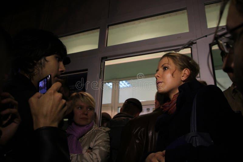 Les observateurs électoraux Lubov Sobol dit la presse photographie stock
