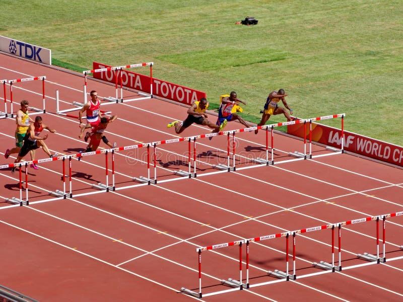 Les obstacles de 110m préliminaires dans le championnat d'athlétisme du monde de 2015 IAAF dans Pékin images stock