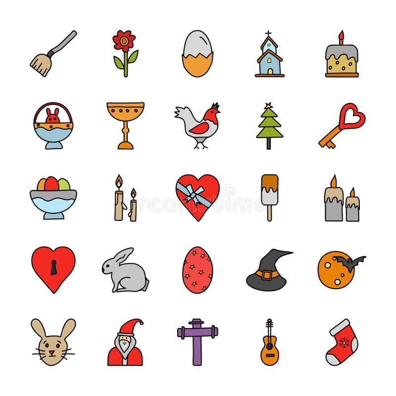 Les occasions gribouillent des icônes emballent illustration libre de droits