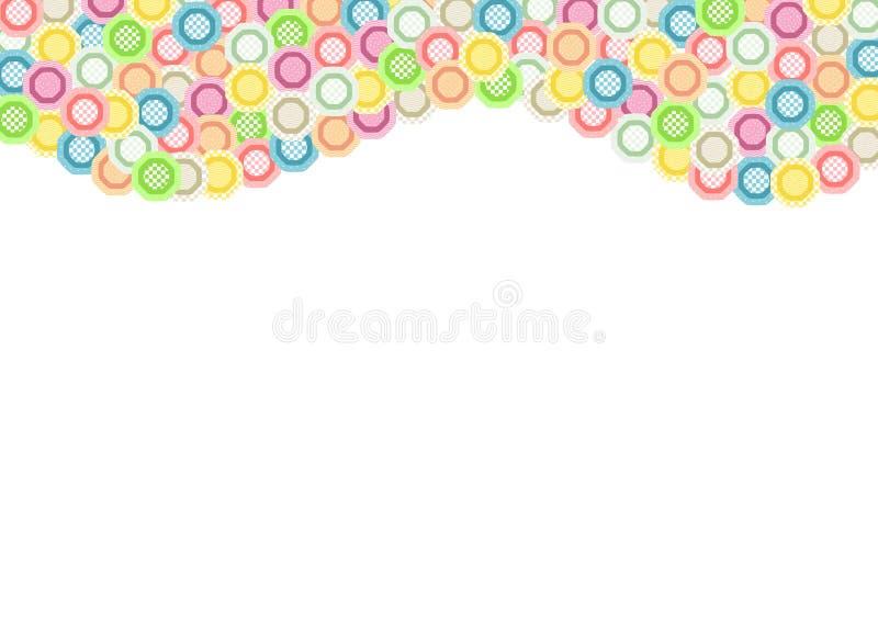 Les octogones colorés ont rempli avec différents modèles comme onduleuse en haut illustration libre de droits