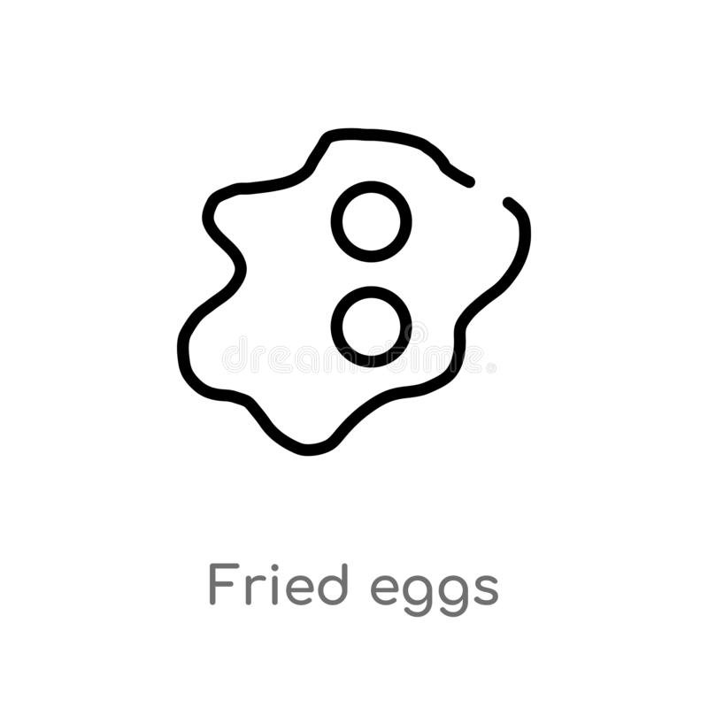les oeufs au plat d'ensemble dirigent l'icône ligne simple noire d'isolement illustration d'élément de concept de nourriture la c illustration de vecteur