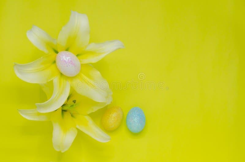 Les oeufs colorés décorent du scintillement pour le jour de Pâques et le festival a mis sur les fleurs blanches et jaunes fraîche images stock
