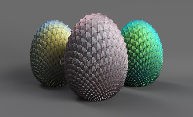 Les oeufs 3d de dragon rendent sur un fond gris, 3 oeufs des dragons à venir, grisâtres, argent-or, vert azur illustration stock