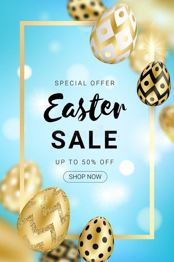Les oeufs d'or de vente de Pâques conçoivent la verticale illustration de vecteur