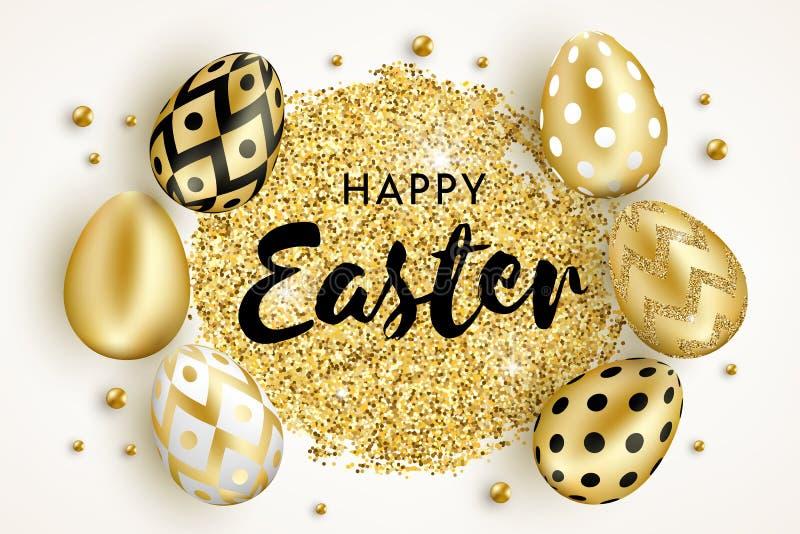 Les oeufs d'or heureux de Pâques conçoivent blanc illustration libre de droits