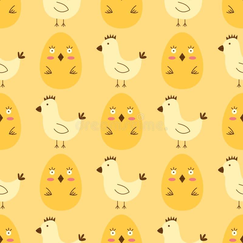 Les oeufs de pâques peints avec le jeu coloré multi de vacances d'aliment biologique de fond sans couture de modèle de ressort di illustration stock