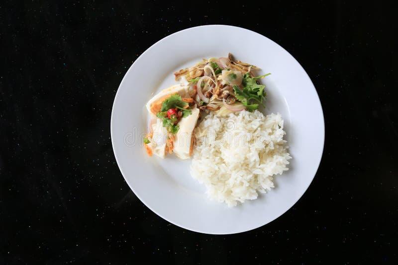 Les oeufs et les salades salés de poissons mangent avec du riz de jasmin images libres de droits