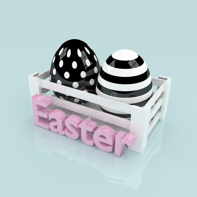 les oeufs noirs et blancs de 3d pâques dans la boîte en bois avec Pâques textotent illustration stock