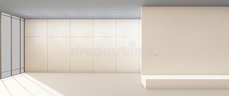 Les oeuvres d'art la galerie modernes nettoient et murent l'exposition blanche illustration de vecteur