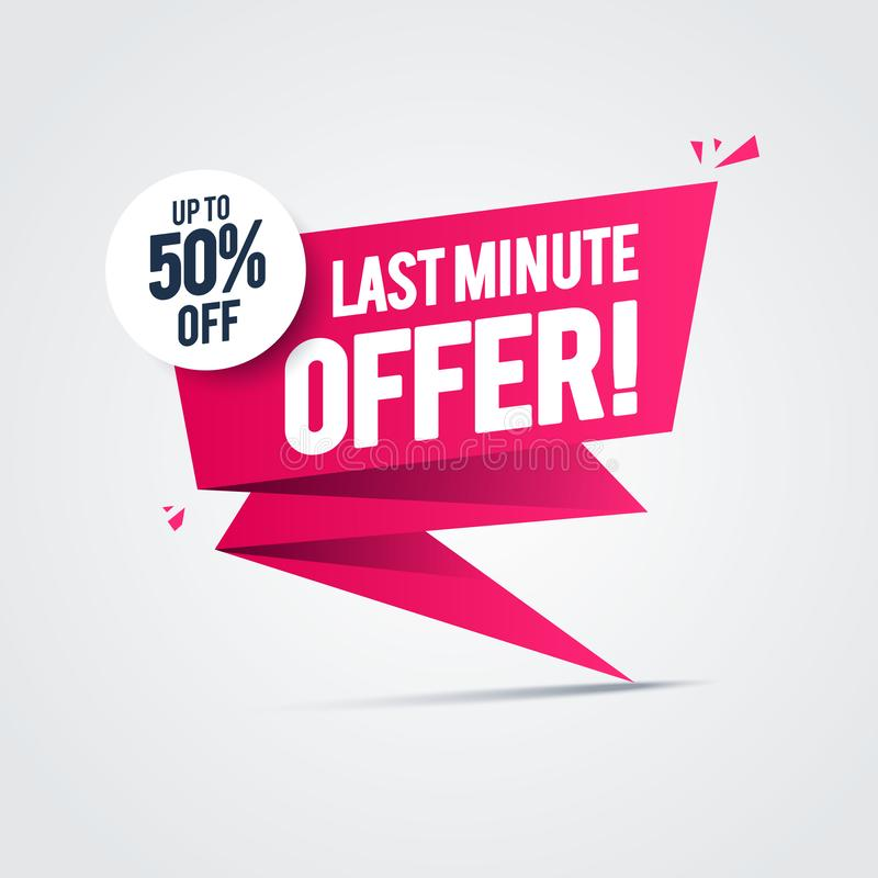 Les offres de dernière minute de vente instantanée d'illustration de vecteur 50% font des emplettes maintenant label de publicité illustration de vecteur