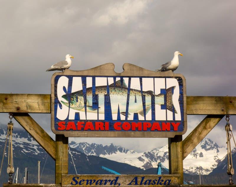 Les oiseaux étant perché sur un ` s de compagnie de charters de pêche signent au seward images libres de droits