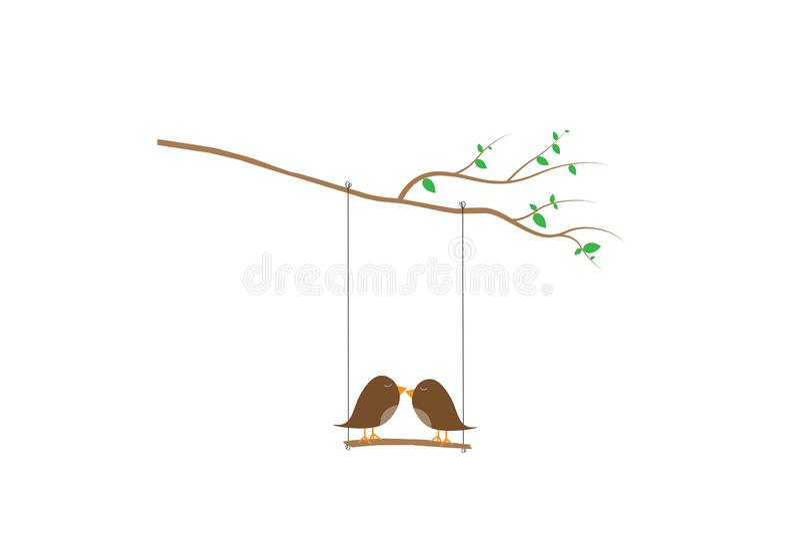 Les oiseaux couplent le vecteur de silhouette, les oiseaux sur l'oscillation sur la branche, oiseaux colorés de décalques de mur  illustration stock