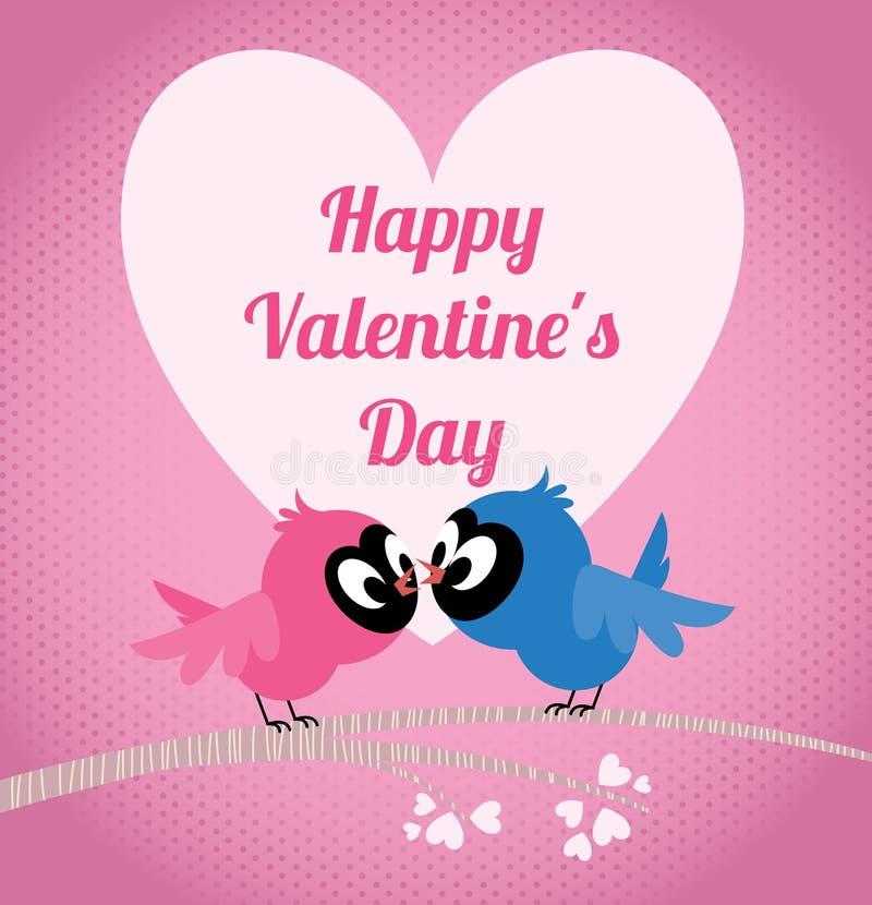 Les oiseaux d'amants sur une branche célèbrent le jour de valentines illustration libre de droits