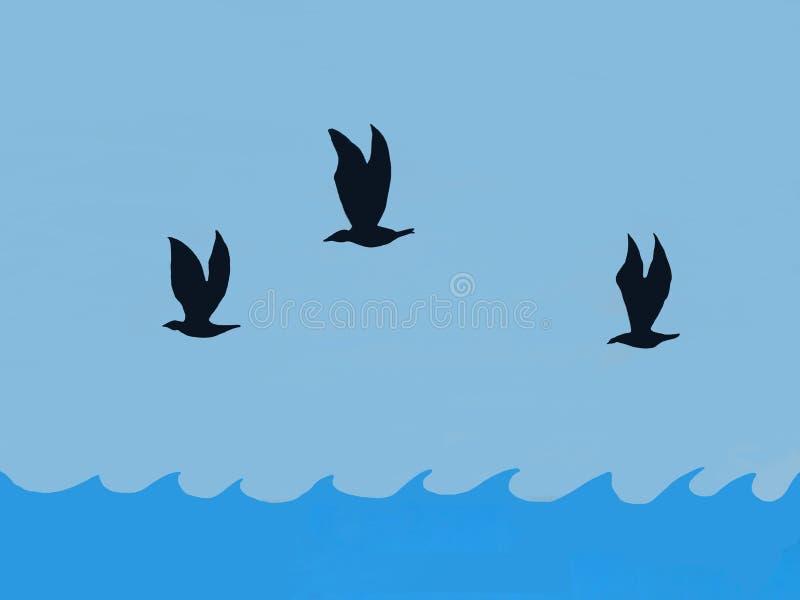 Les oiseaux de mer illustrés montent au-dessus des vagues illustration libre de droits