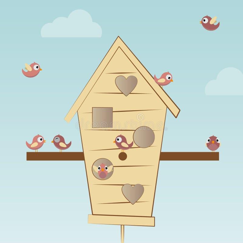 Les oiseaux logent avec des oiseaux illustration stock