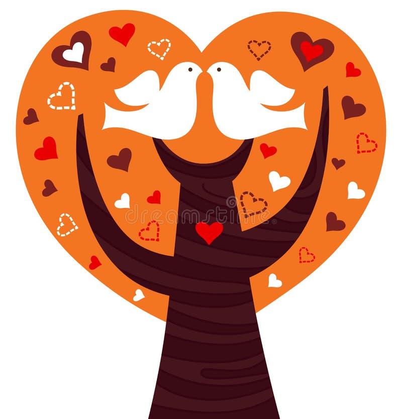Les oiseaux s'accouplent à un coeur rose illustration stock