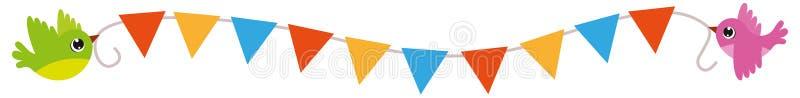 Les oiseaux volant avec la triangle multicolore marque le vecteur illustration libre de droits
