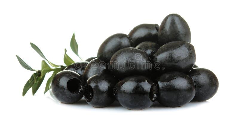 Les olives noires dans un tas avec des feuilles se ferment sur un fond d'isolement blanc photo libre de droits