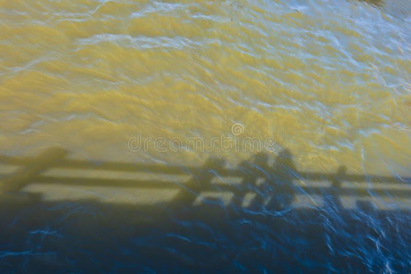 Les ombres abstraites se reflètent ripply de l'eau de rivière image libre de droits