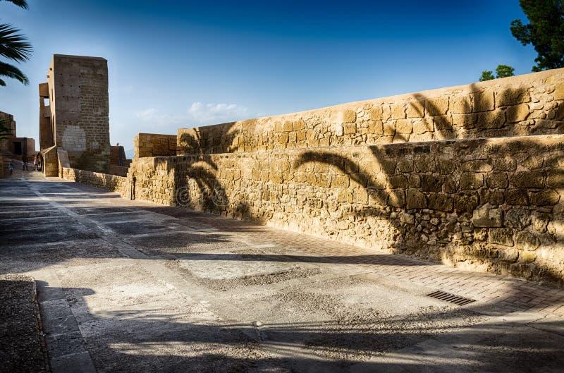 Download Les Ombres Des Palmiers Sur Le Mur Se Retranchent Santa Barbara Dans Alicante, Espagne Photo stock - Image du château, jour: 76082162