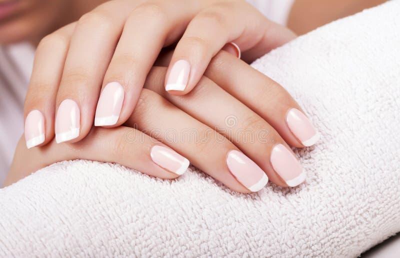 Les ongles de la femme avec la manucure française images stock