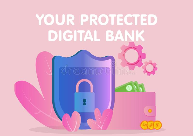 Les opérations bancaires en ligne solidement protégées, la serrure et le bouclier assurent la protection fiable pour des transact illustration de vecteur