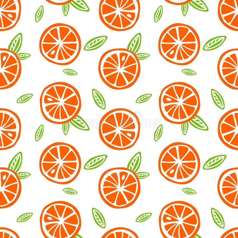 Les oranges de fruit avec le vert part sur un Se blanc de modèle de fond illustration de vecteur
