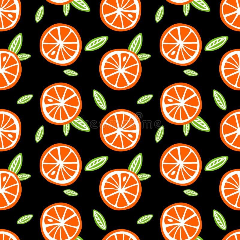 Les oranges de fruit avec le vert part sur un Se noir de modèle de fond illustration de vecteur
