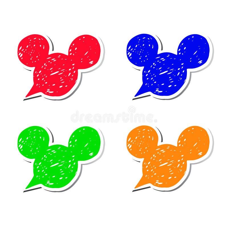 Les oreilles noires modernes d'autocollant de souris d'icône d'illustration de vecteur de Mickey ont peint la tête de Mickey Mous photos libres de droits