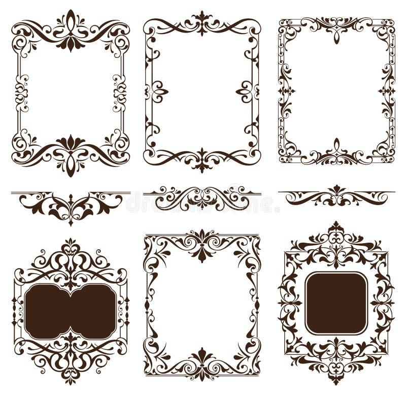 Les ornements de vintage conçoivent les autocollants blancs de coins de cadre de restrictions de fond d'enjolivures florales d'él illustration stock