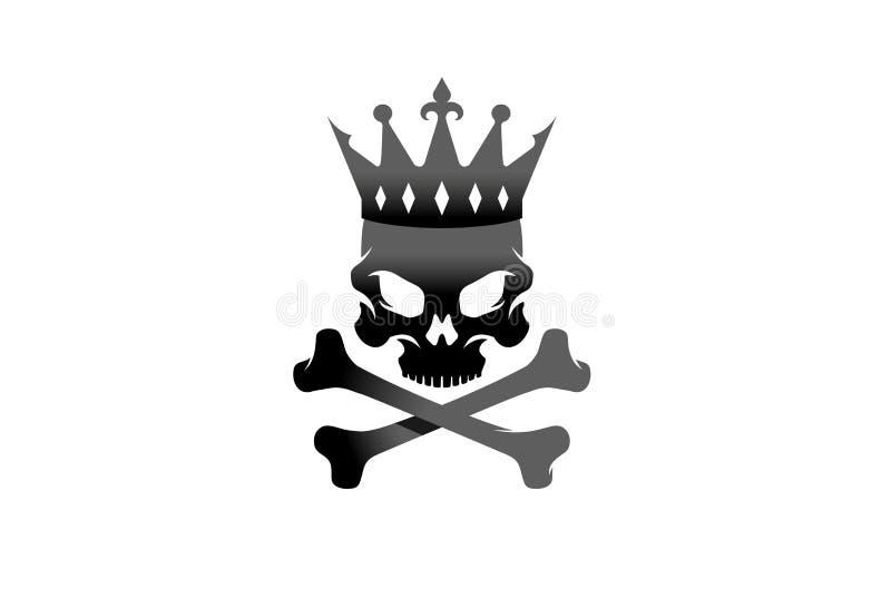 Les os squelettiques noirs créatifs couronnent le Roi Skull Logo Design Vector Illustration illustration libre de droits