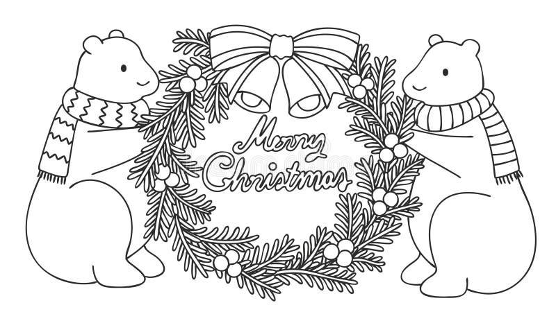 Les ours blancs mignons tenant Noël tressent avec le Joyeux Noël de typo tiré par la main, pour l'illustration et la page de livr illustration libre de droits