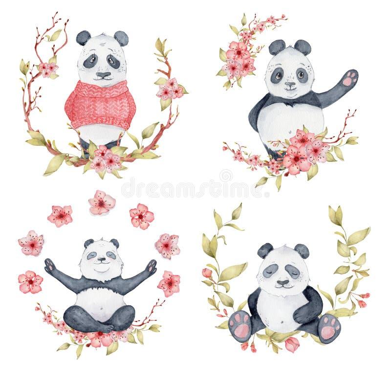 Les ours panda en guirlandes de Sakura, les animaux mignons ont placé l'illustration illustration stock