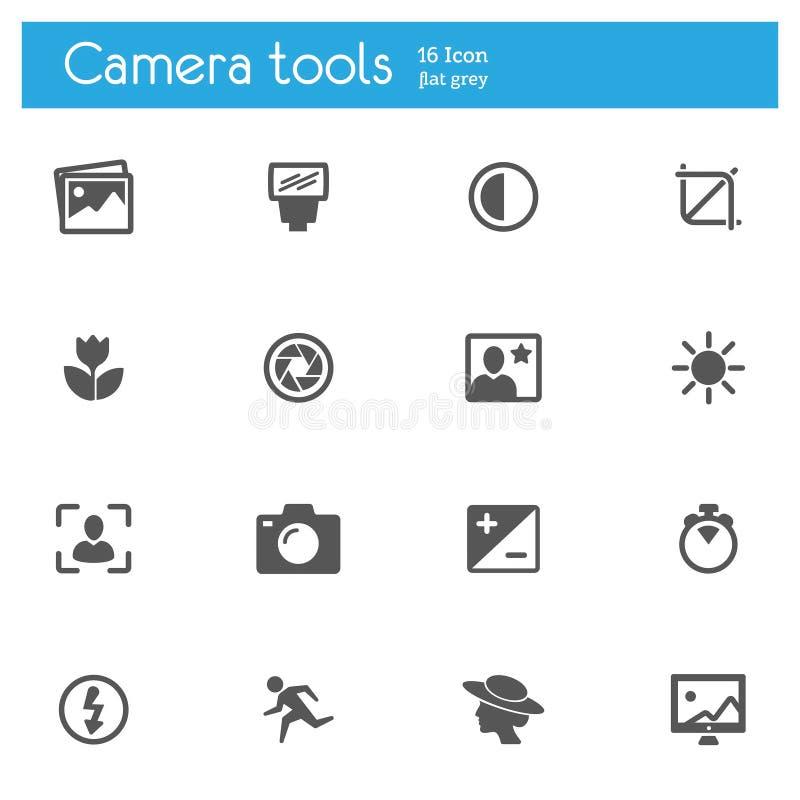 Les outils d'appareil-photo, icônes grises plates de foto ont placé de 16 illustration stock