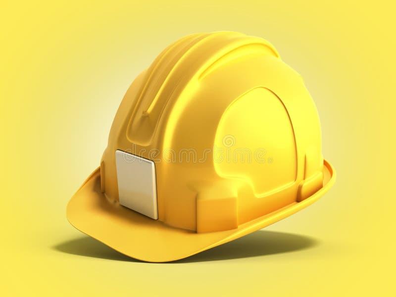 Les outils 3d de construction de casque de casque antichoc rendent sur le gradient jaune illustration stock