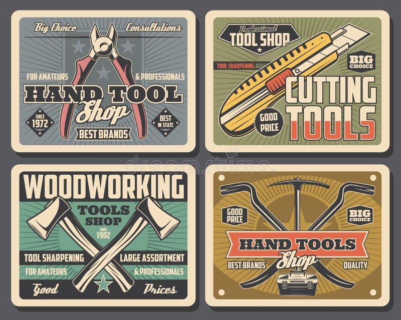 Les outils de bricolage de réparation et de construction font des emplettes illustration libre de droits