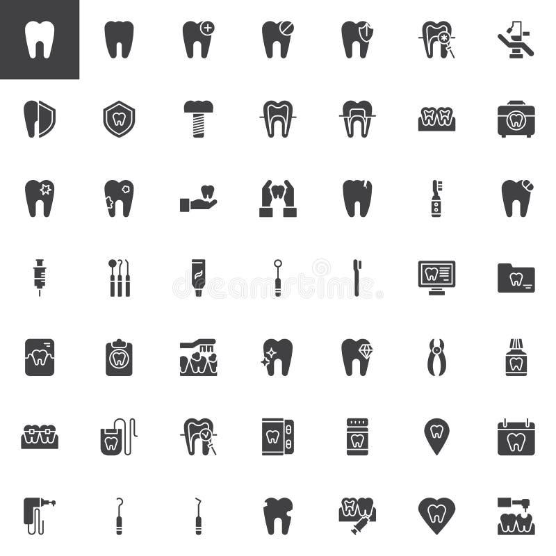 Les outils de dentiste dirigent l'ensemble d'icônes illustration de vecteur