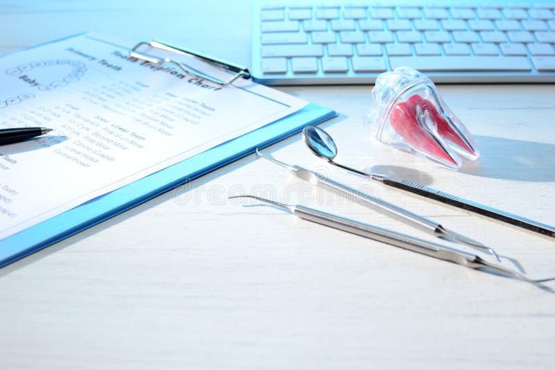 Les outils de dentiste, le diagramme d'éruption de dent et la dent modèlent sur la table de dentiste avec le clavier d'ordinateur photo stock