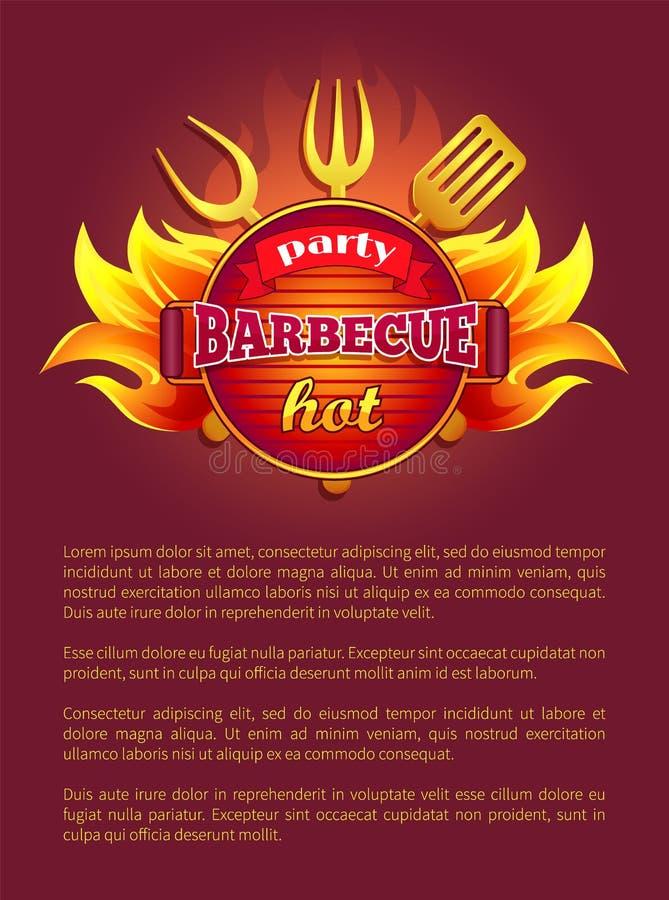 Les outils de tract de gril de barbecue de partie bifurquent et barbotent illustration libre de droits