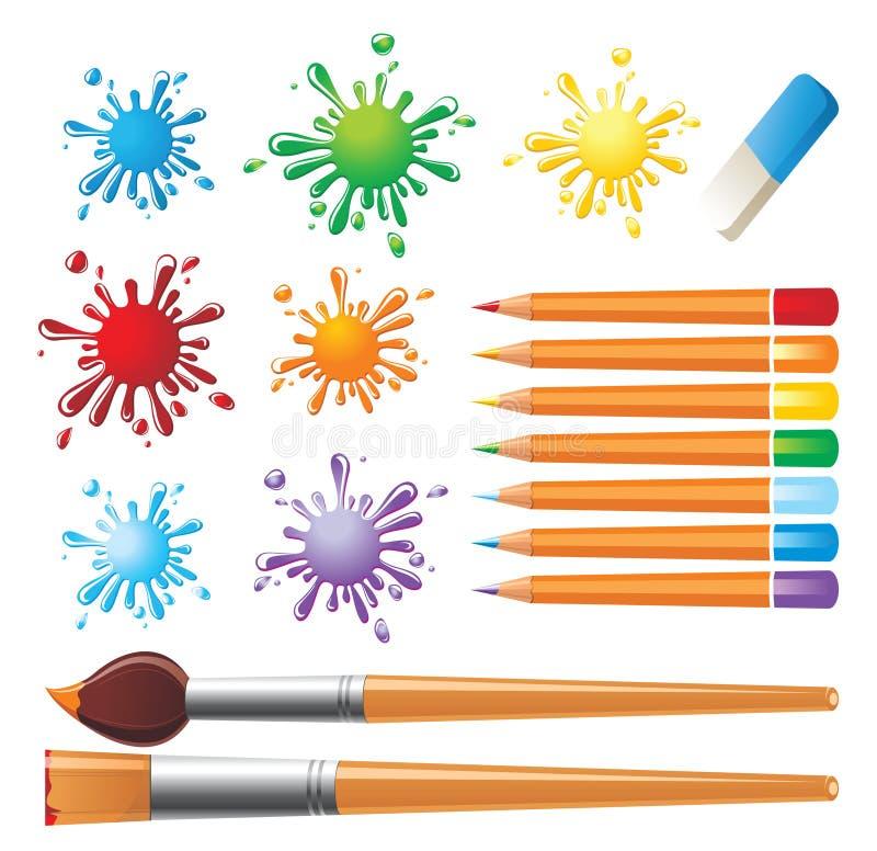 Les outils du peintre illustration libre de droits