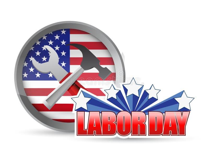 Les outils et le drapeau heureux de travailleurs de Fête du travail des USA signent illustration libre de droits