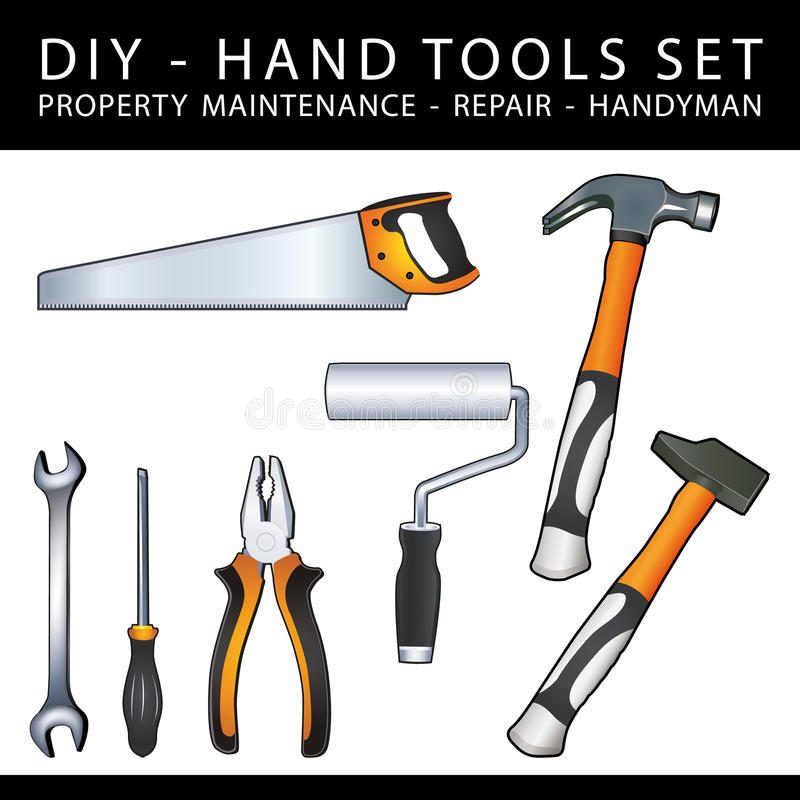 Les outils pratiques de DIY pour l'entretien, la réparation et le bricoleur de propriété fonctionnent illustration de vecteur