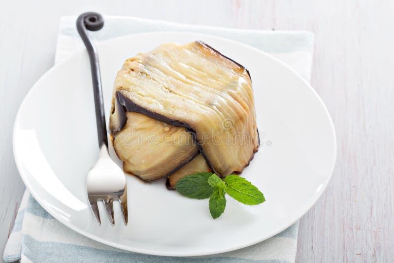 Les pâtes d'aubergine font cuire au four photo stock
