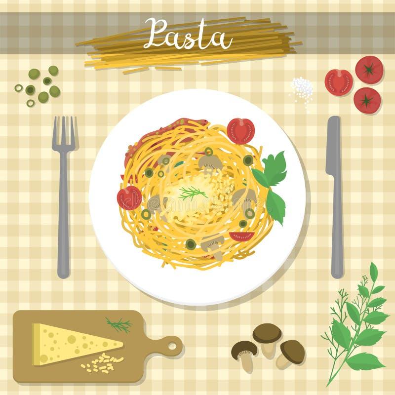 Les pâtes différentes Bolonais d'ingrédient de nourriture et les spaghetti déjeunent illustration stock