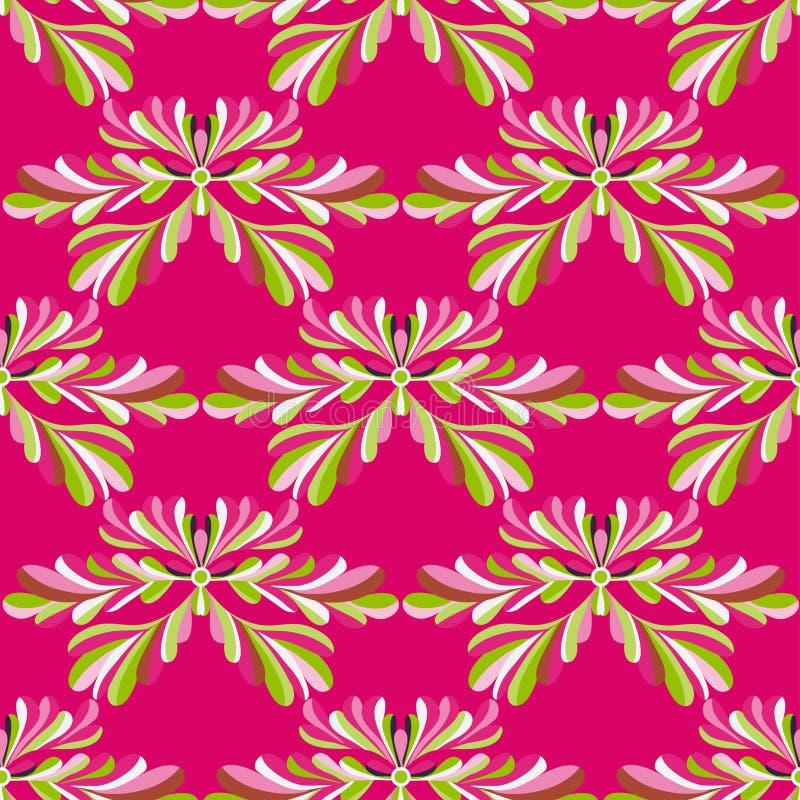 Les pétales verts des fleurs sur un fond rose dirigent le modèle sans couture illustration libre de droits