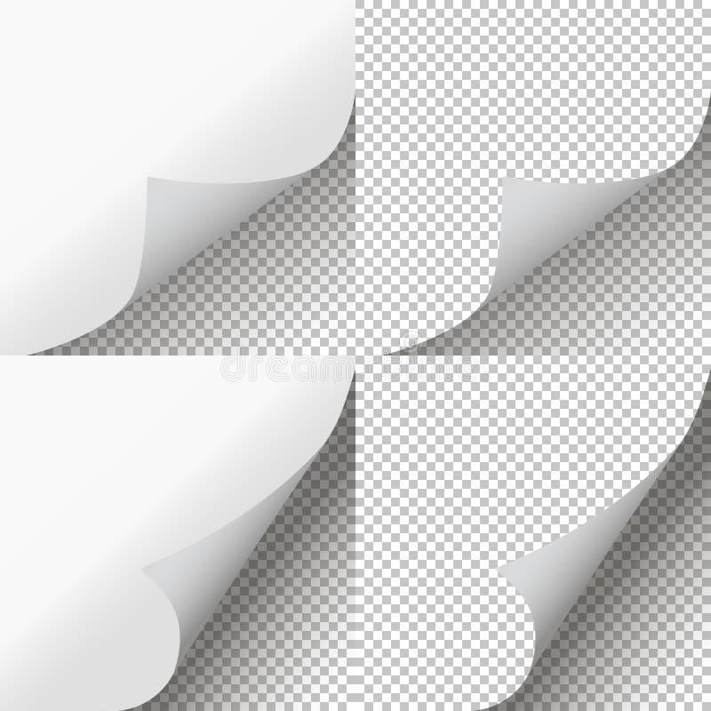 Les pages courbent l'ensemble Peau de page transparente Vecteur illustration libre de droits