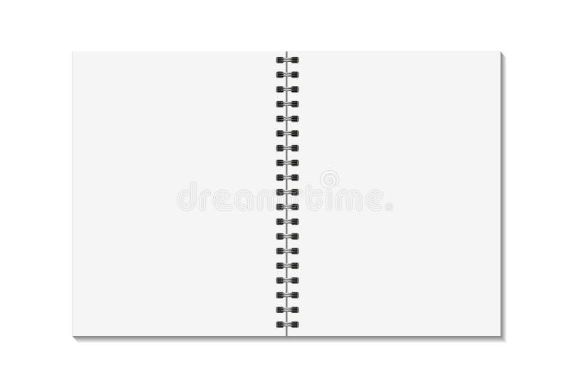 Les pages ouvertes de blanc réservent avec le calibre de spirale en métal de reliure Moquerie de carnet d'isolement sur le fond b illustration de vecteur